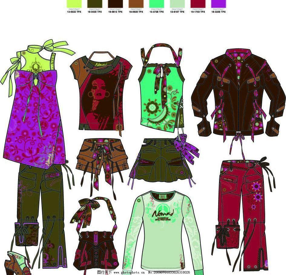 服装设计手稿 服装设计 服装设计效果图表现手法 流行色 运动 休闲