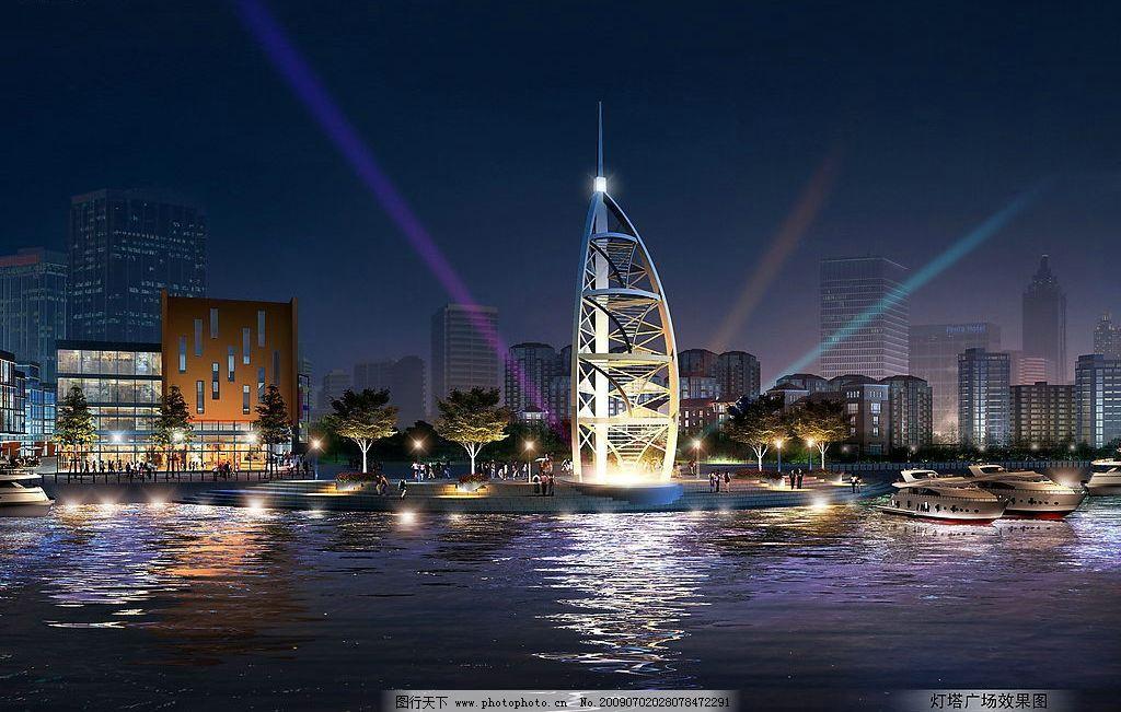 港口夜景效果图 夜景        港口 水岸 环境设计 建筑设计 设计图库