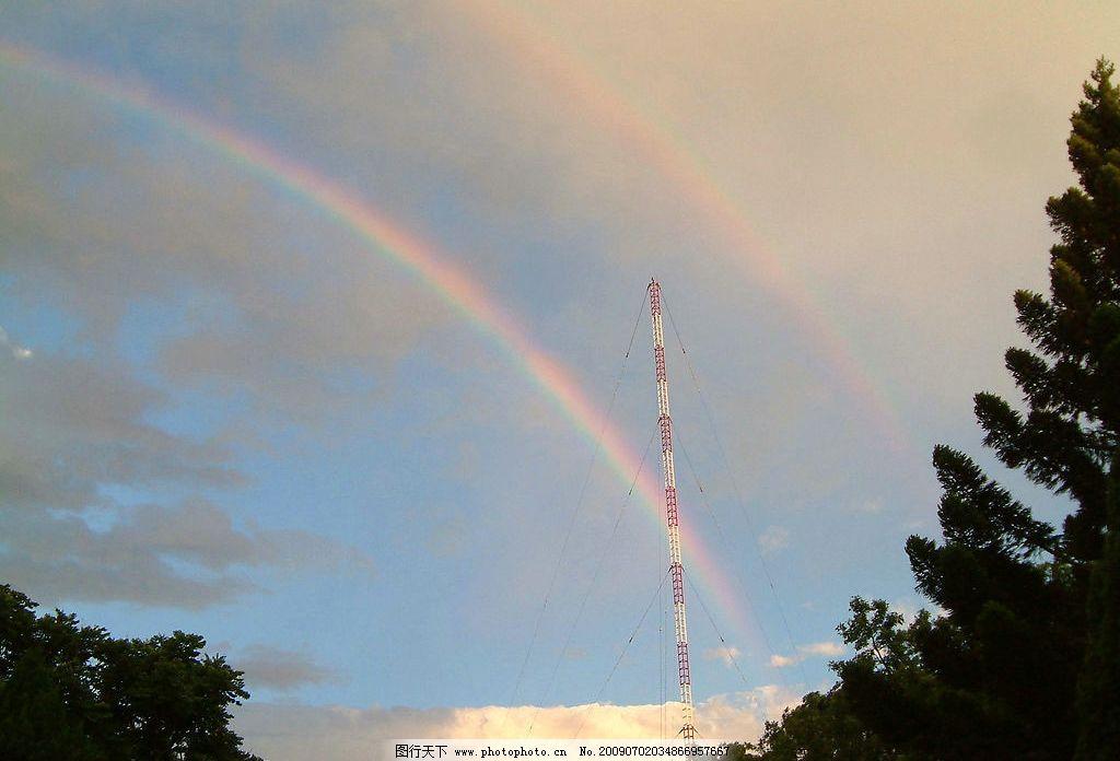 电塔与彩虹 大自然 景观 景象 天空 云彩 树木 电塔 彩虹 光影 自然