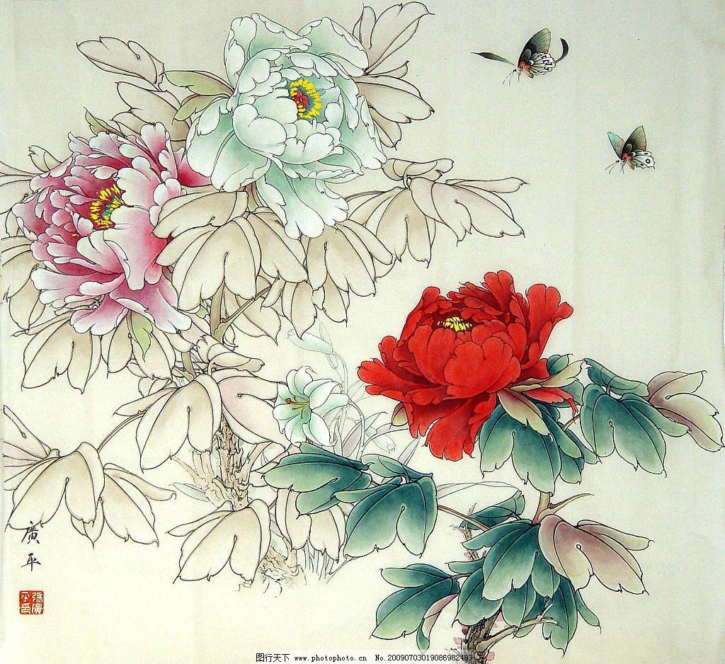 牡丹图 富贵艳丽 绘画 工笔画 国画 工笔重彩 摄影图片 300dpi jpg