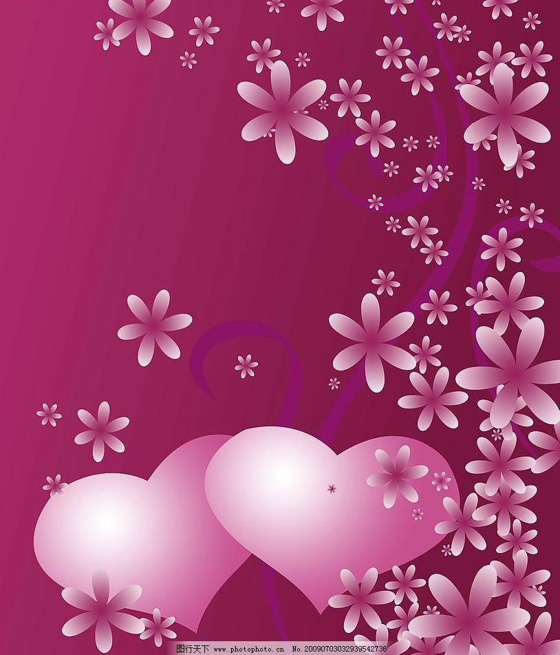 爱的演义 花朵 红色背景 红色花 心型 双心 花纹 落花 源文件库