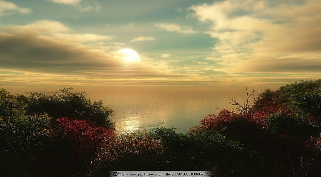 美丽风景 蓝天 白云 云层 天空 树木 高山 景色 山峰 花草 自然景观