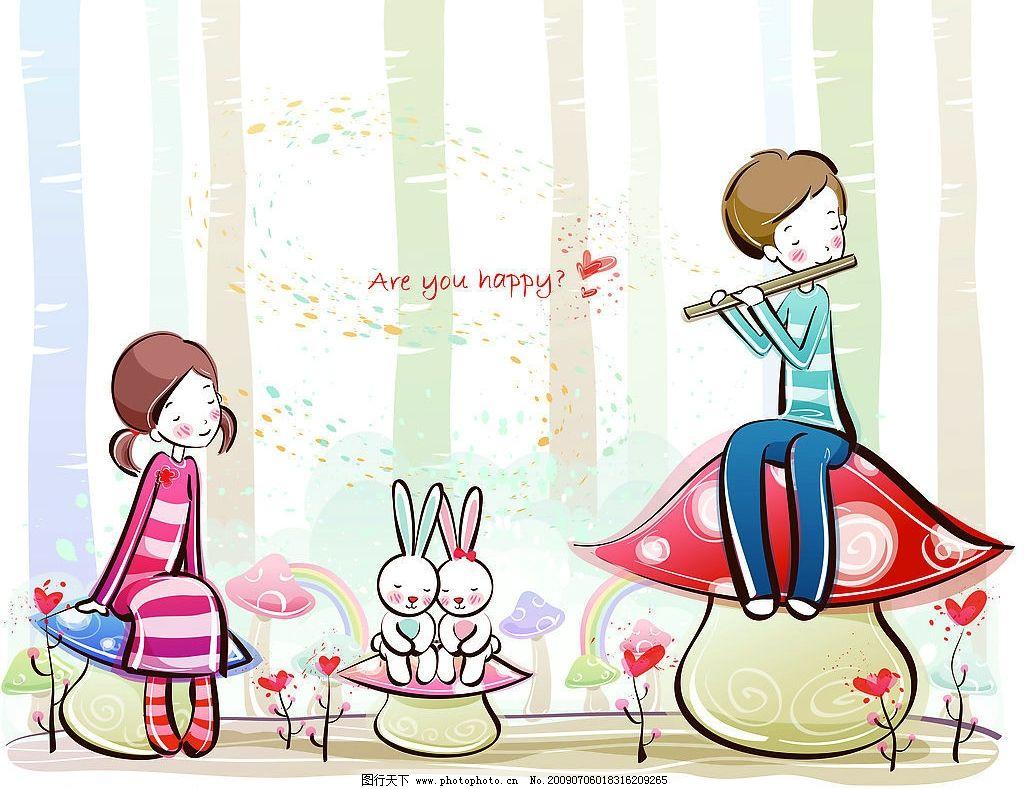 吹箫 笛子 吹笛子 音乐 男孩女孩 动漫动画 动漫人物 设计图库 jpg
