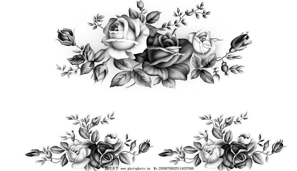 水墨玫瑰 水墨画 玫瑰 生物世界 花草 设计图库 600dpi jpg