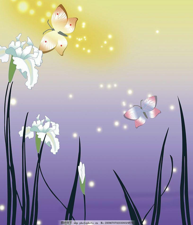 百合花背景 百合花 蝴蝶 花卉 底纹边框 花边花纹 设计图库 100dpi