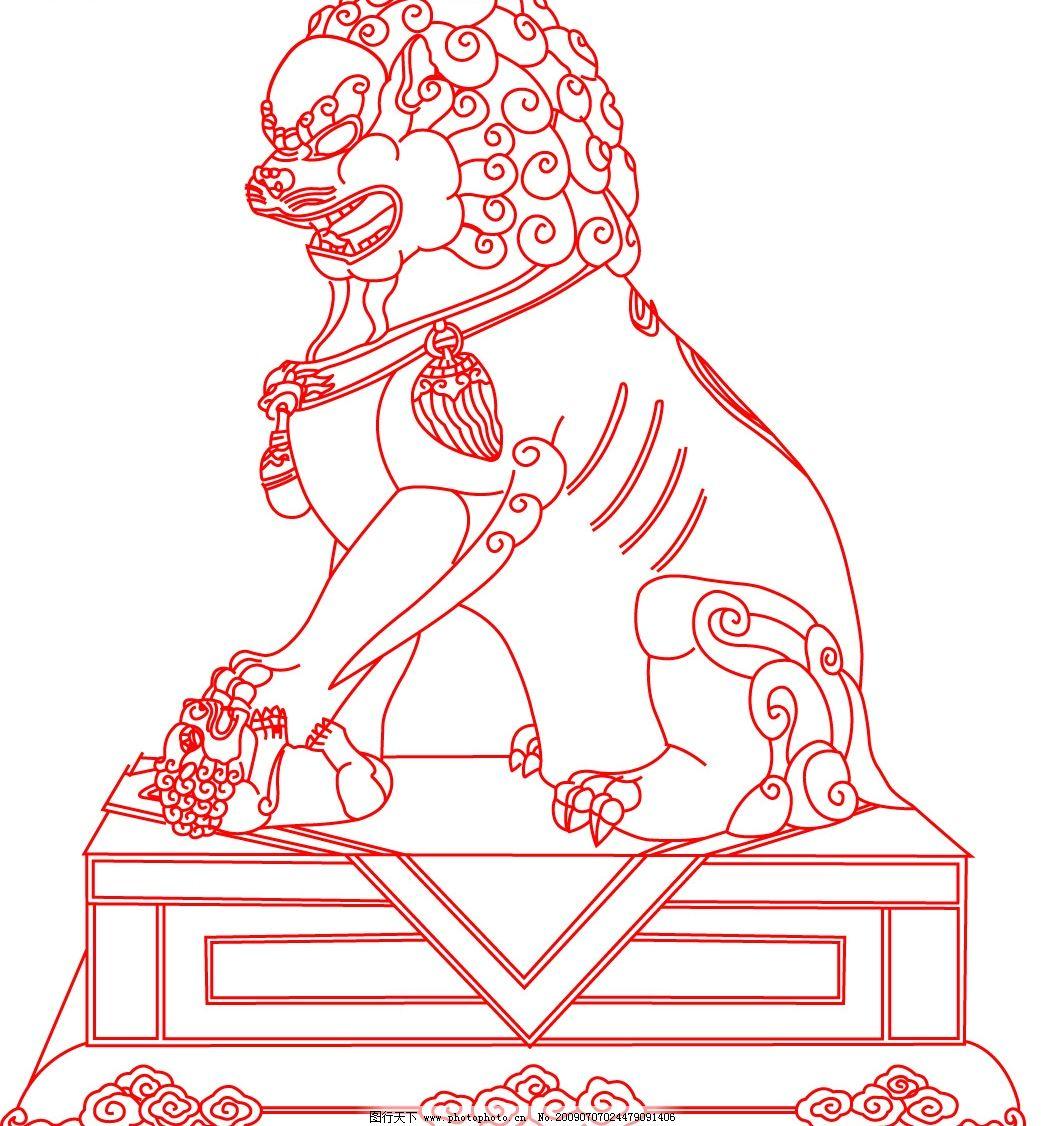 狮子 线条狮子 底纹边框 条纹线条 矢量图库 eps 生物世界 野生动物