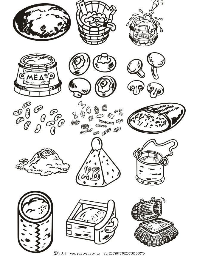 矢量食物04 罐子 蘑菇 饭盒 水桶 矢量图 原创 cdr 黑白 生活百科