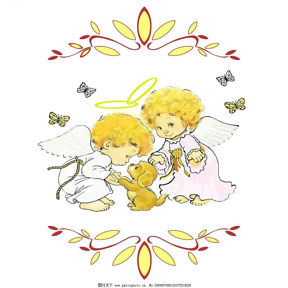 爱心天使 情侣天使 小狗 蝴蝶 花案 动漫动画 动漫人物 设计图库 72