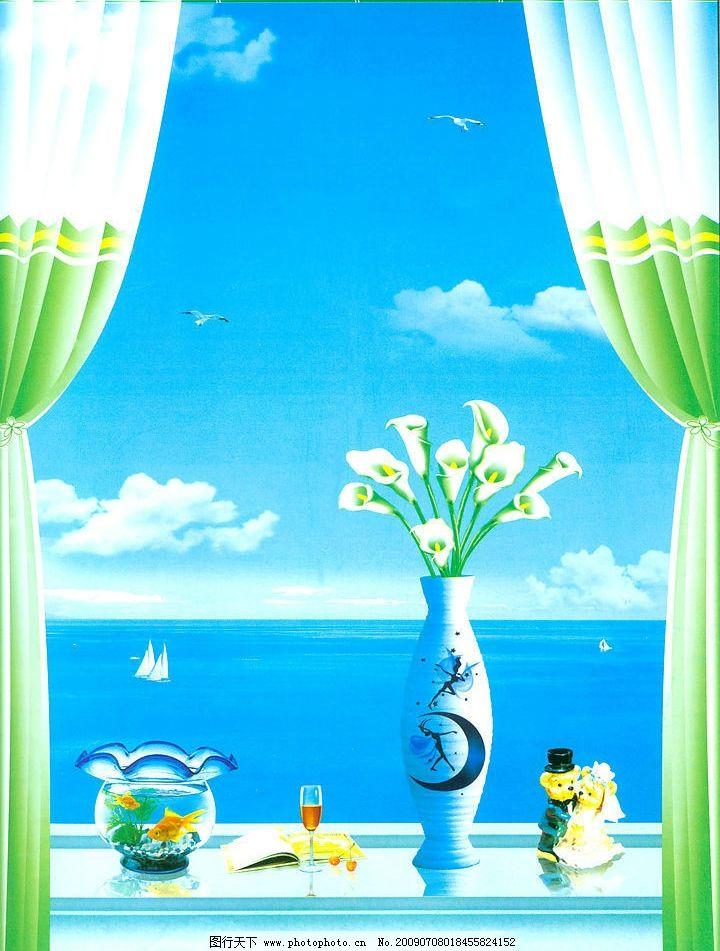 窗户图片_风景漫画_动漫卡通