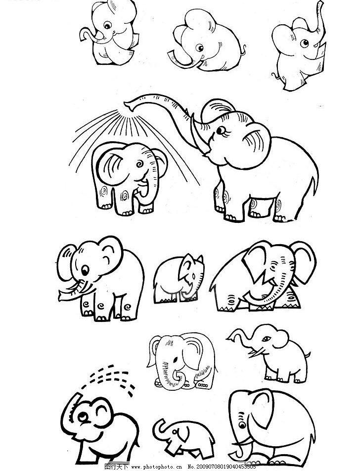 大象 可爱小动物 线条 单黑 素描 画画 动手扫描 文化艺术 绘画书法