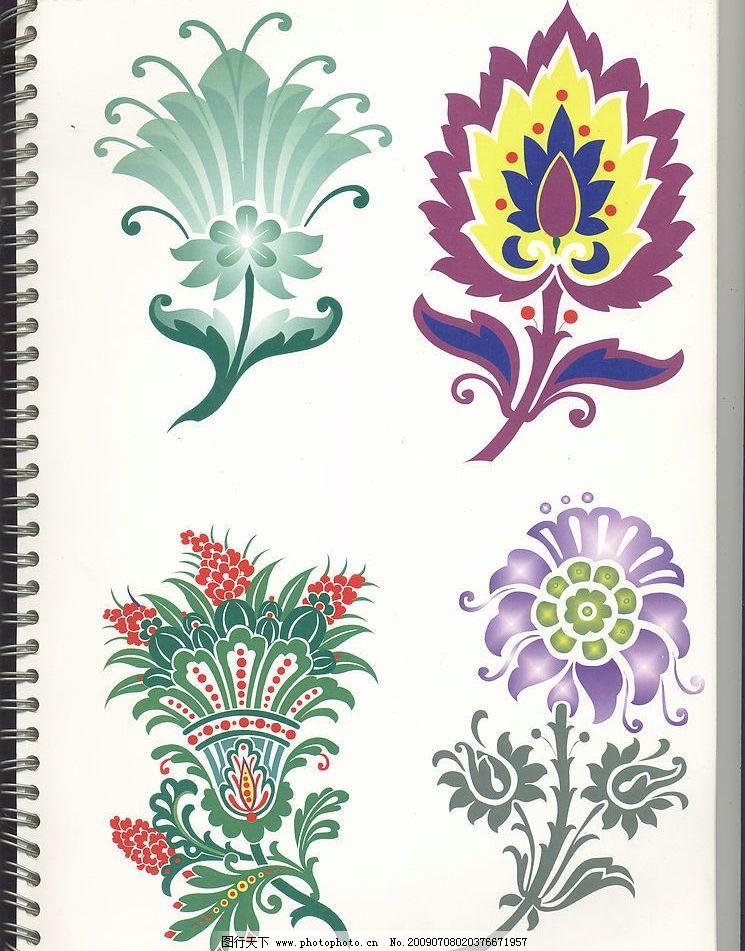 热带花卉 色彩花卉 底纹边框 花边花纹 设计图库 600dpi jpg