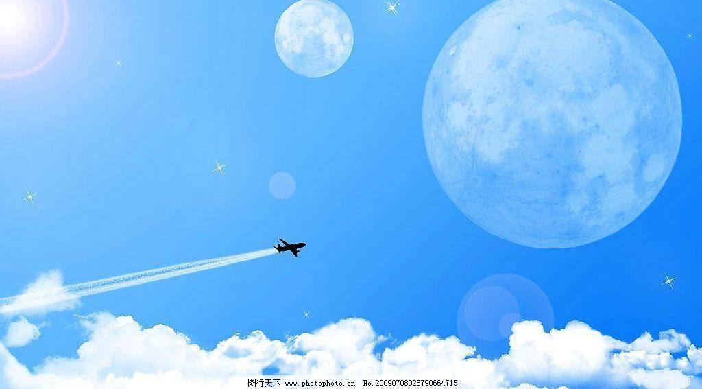 天空 蓝天白云 飞机图片