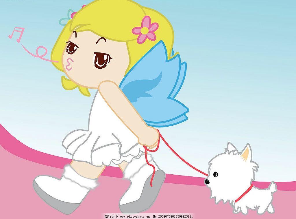 卡通女孩和小狗图片
