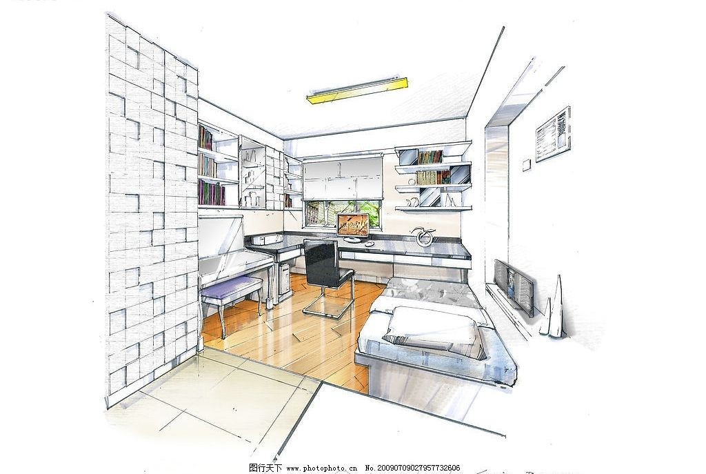 书房 手绘 效果图 室内 设计图 室内设计图 电脑 上色图 客厅