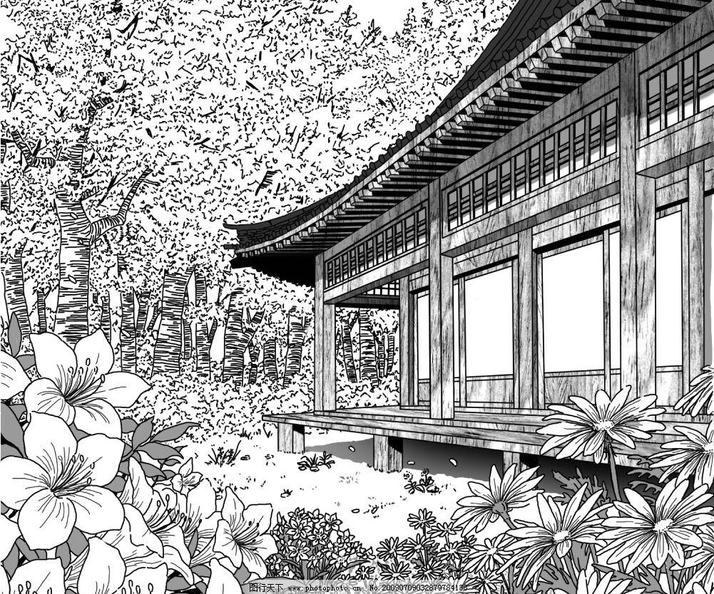日式房子和树林花 手绘 黑白 漫画 源文件库 300dpi psd