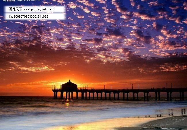 海滩 旅游摄影 摄影图库 晚霞 夕阳 自然风景 晚霞 夕阳 海滩 灯塔