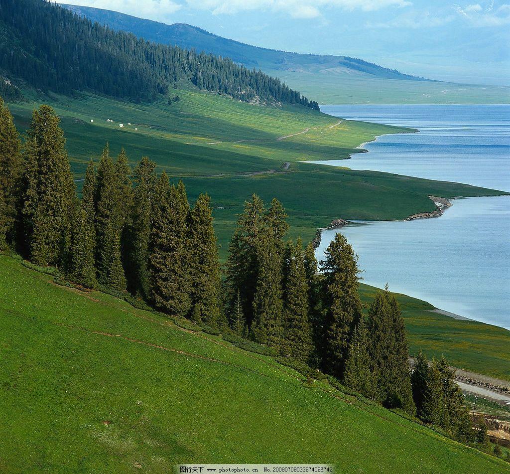 山水 远山 山坡 蓝天 白云 水面 树木 树林 草地 旅游摄影