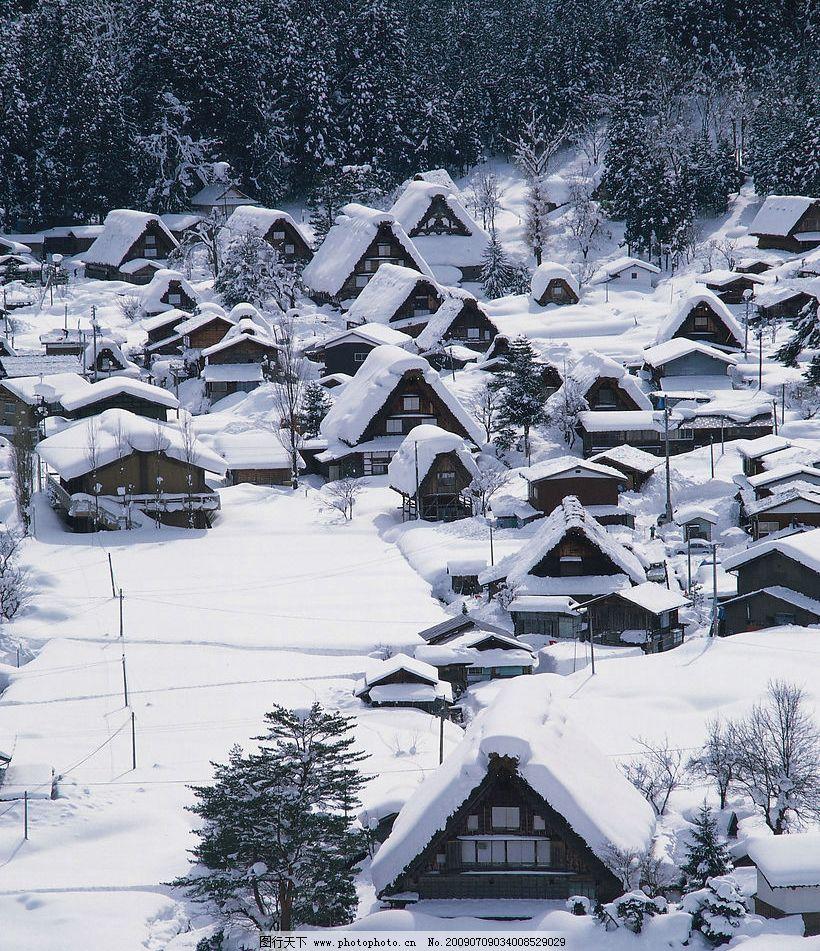 日本风景 雪地 大雪 村落 村庄 大雪下的村庄 冬天 旅游摄影