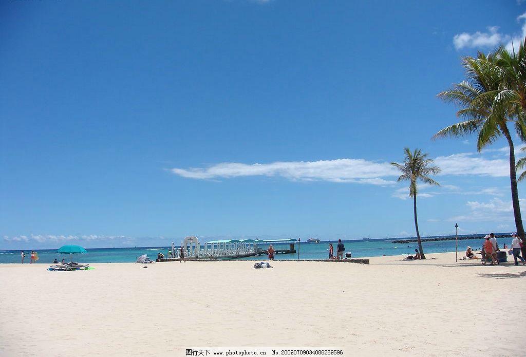 沙滩 美国 蓝天 白云 椰树 游人 旅游摄影 国外旅游 摄影图库 72dpi