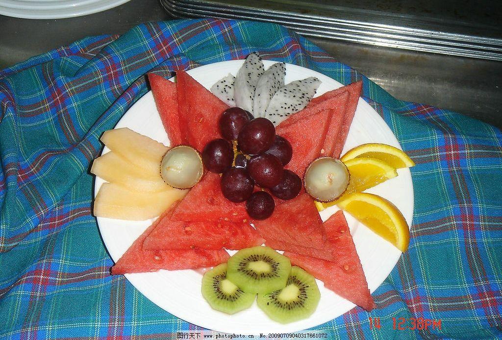 水果拼盘 西瓜 葡萄 西餐美食 摄影图库