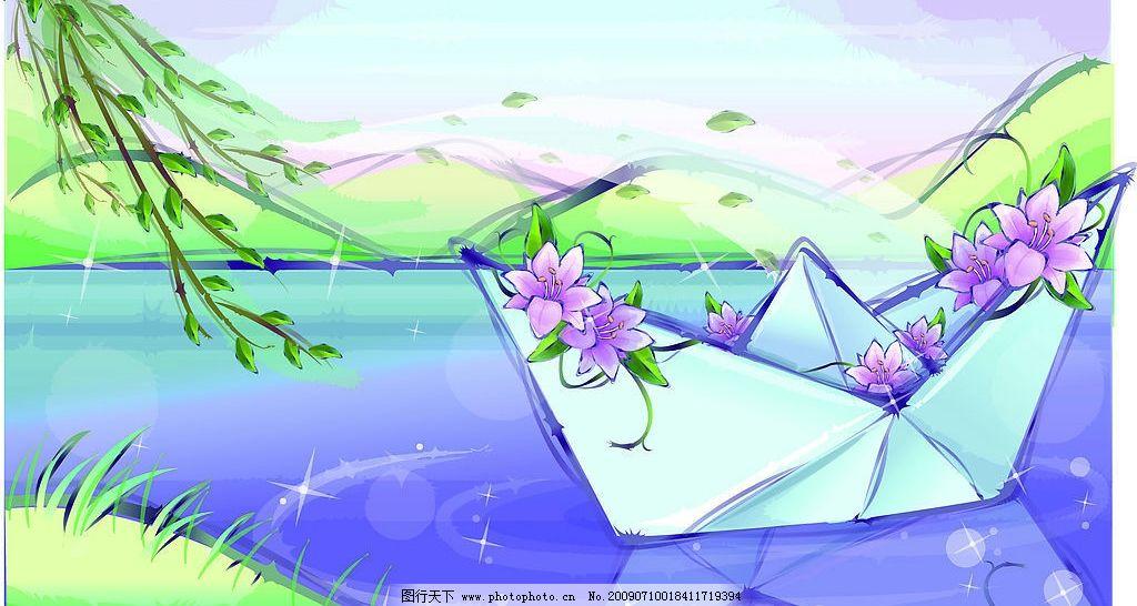 柳树发芽卡通图片