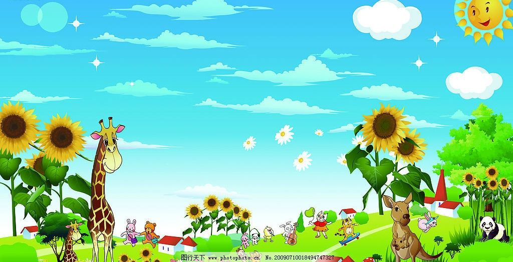 卡通背景 动物 向日葵 太阳 蓝天白云 背景 动漫动画 风景漫画 设计图