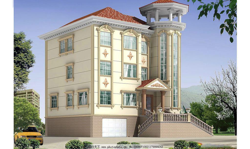 房屋外观效果图 高贵 时尚 大气 3d设计 设计图库 300dpi jpg