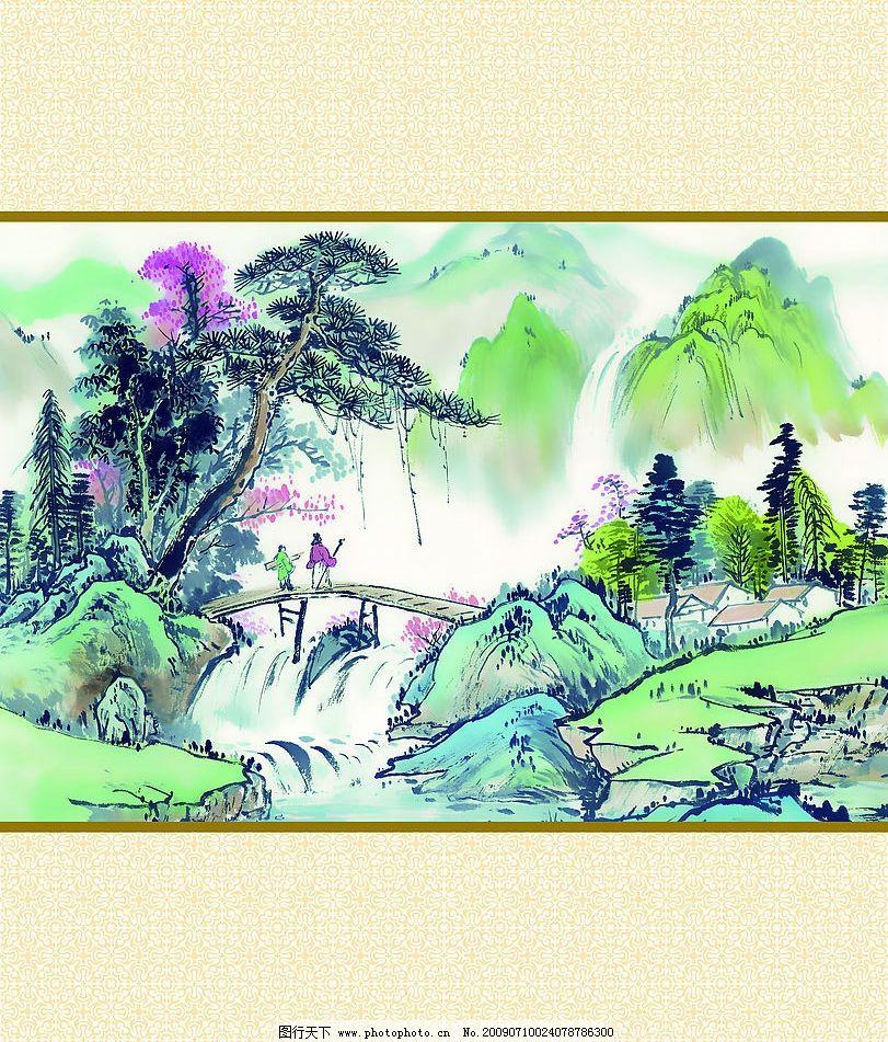 人间仙境 玻璃移门图案设计 油墨山水画 木桥 人物 小溪 山 树林 自然