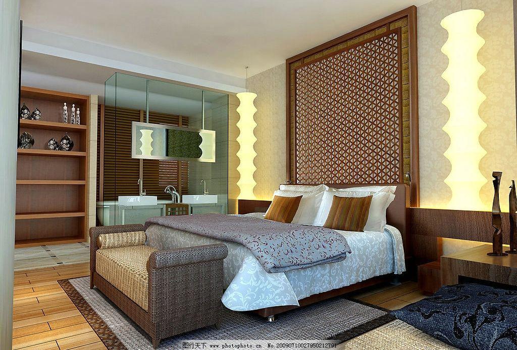 尊园主卧室      软床 艺术灯饰 地毯 木地板 藤编装饰 环境设计 室内