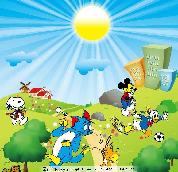 卡通动物和背景图片