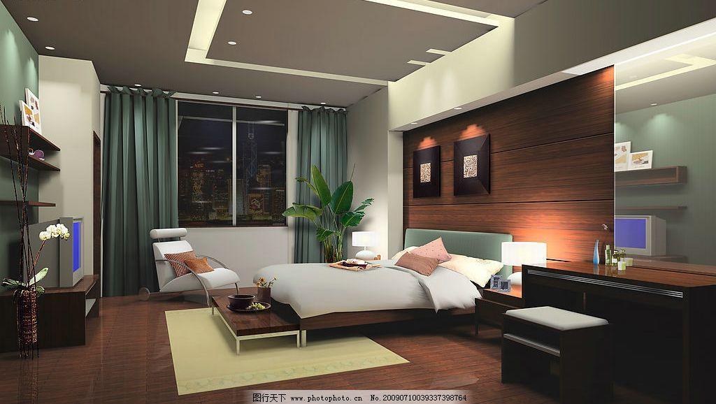 三层主卧效果图 床 卧室 天花板 沙发 茶几 台灯 窗帘 家装图片