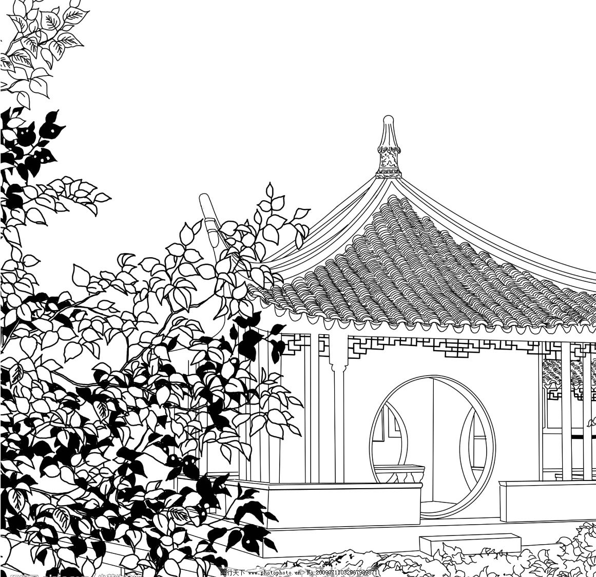 中国古典园林 手绘 黑白 漫画 源文件库 300dpi psd
