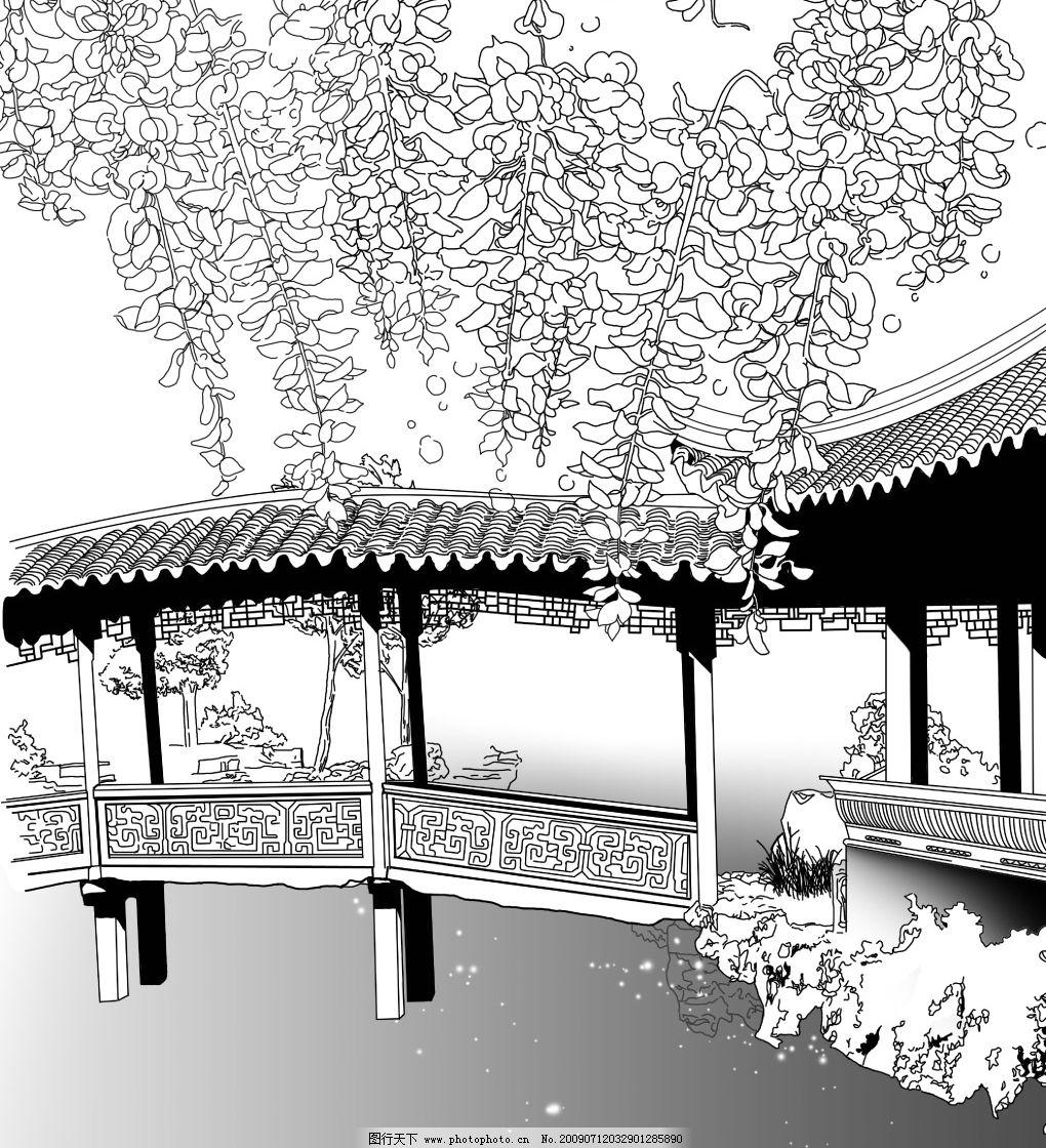 中国古典园林小桥紫籐花图片