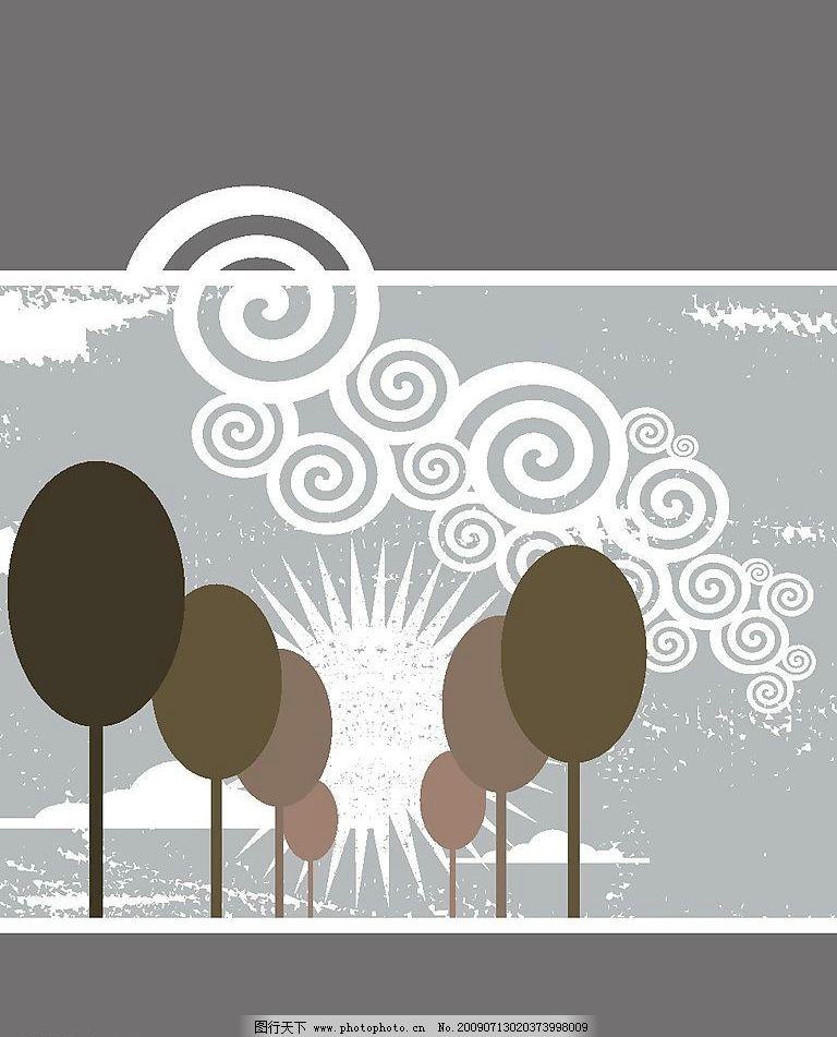 黑白 祥云 椭圆 树 抽象