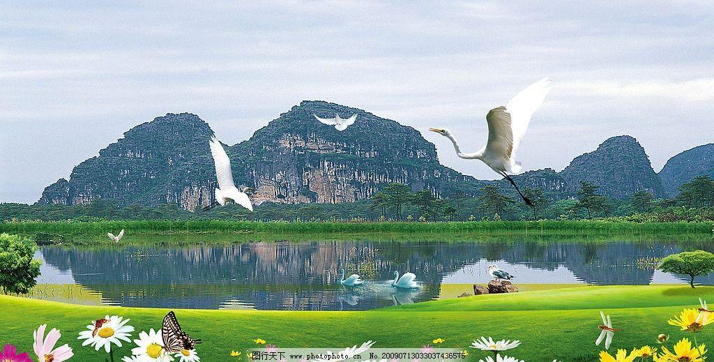 仙鹤飞舞 仙鹤 蝴蝶 花 虫 蜻蜓 树 山 湖 草地 风景 小鸟 psd分层