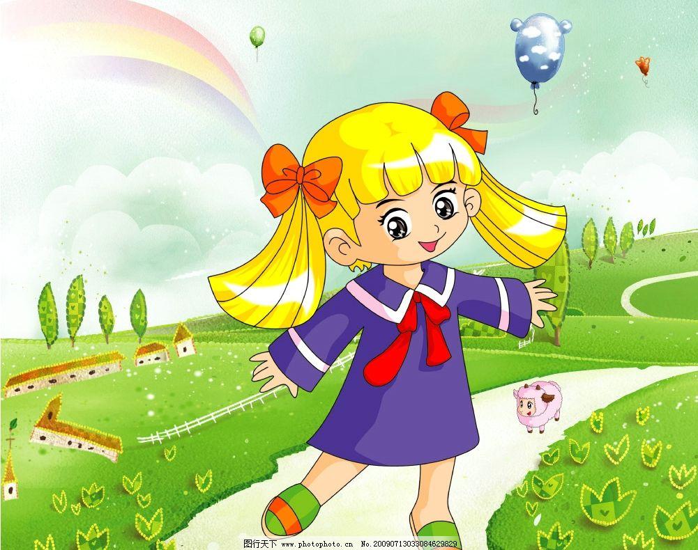 小女孩 儿童 卡通 童年 可爱 活泼 学生 跳舞 童年的时光 小路