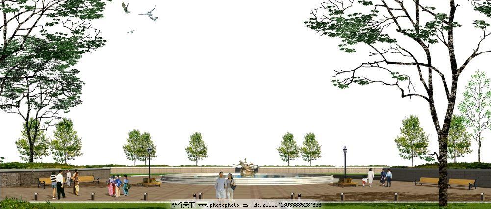 广场透视背景 人物 风景 树木 背景 psd 其他 源文件库 72dpi