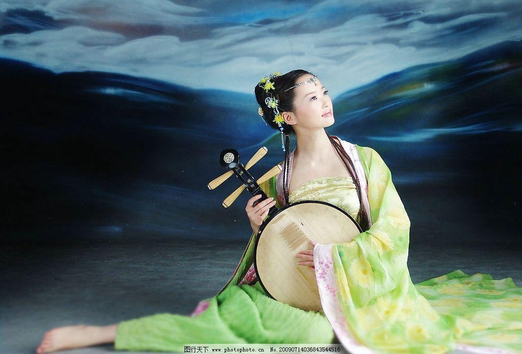 古代美女 古典 古代 古装 美女 佳人 琴 天空 跳舞 人物图库 女性女人
