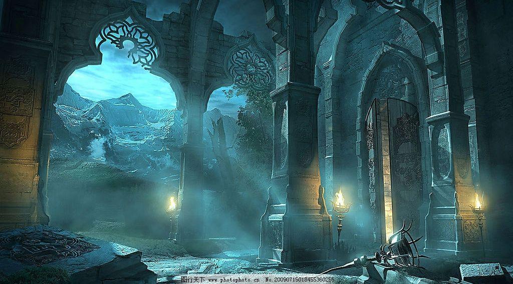 破败的古堡 古欧式建筑 火把 残垣断壁 诡异 动漫动画 游戏场景