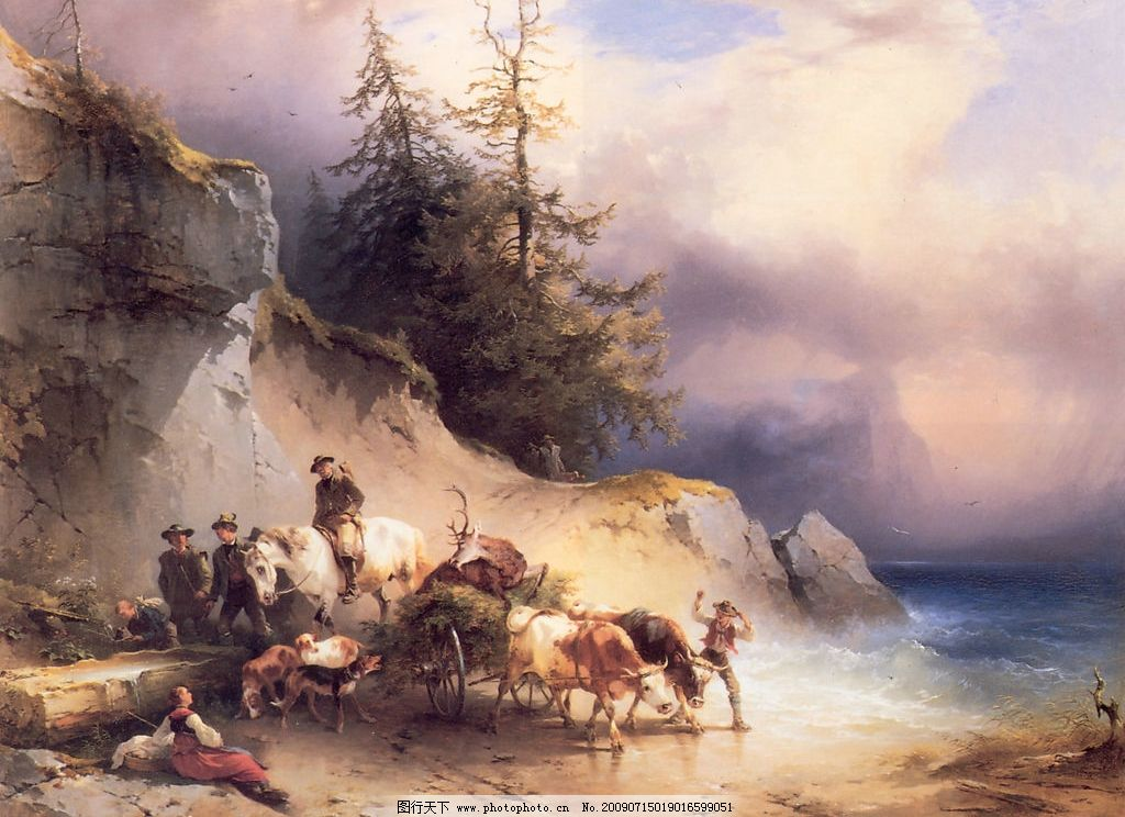 欧洲绘画艺术 西方绘画 油画 彩画 古典绘画 猎人 男人 农妇