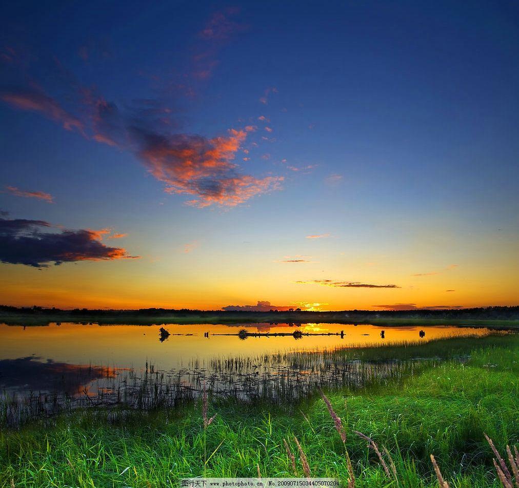 夕阳 天空 太阳 云 芦苇 蓝天 阳光 火烧云 高清 自然景观 山水风景