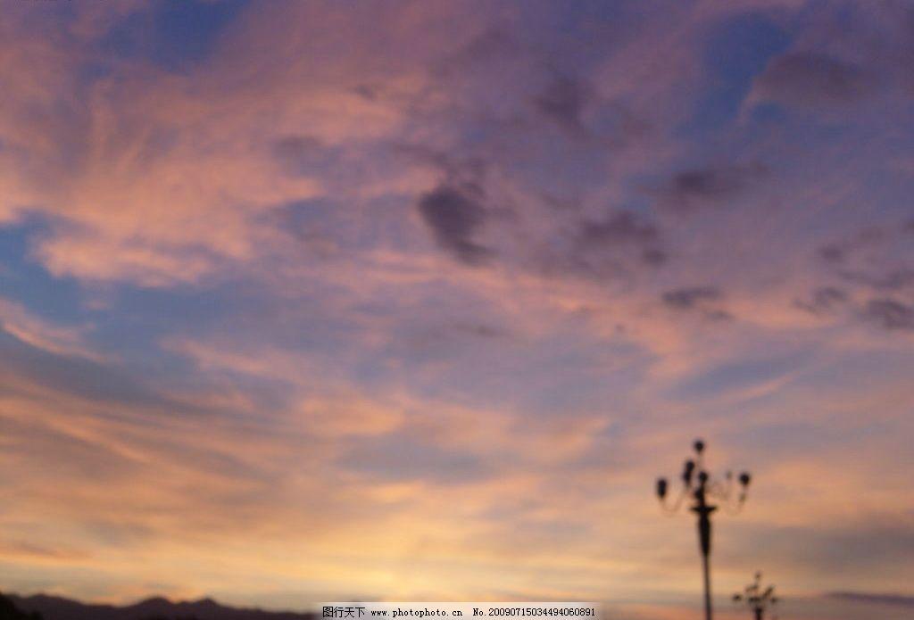 风景 晚霞 路灯 山 自然景观 山水风景 摄影图库 72dpi jpg
