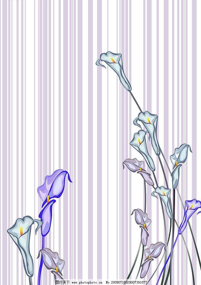百合线条 花 矢量花 花纹 简单 移门 矢量图 其他设计
