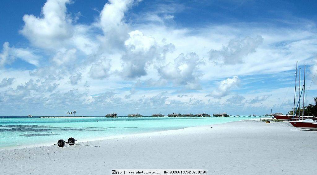海边 沙滩 白云 蓝天 海边风景 旅游摄影 自然风景 摄影图库 72dpi