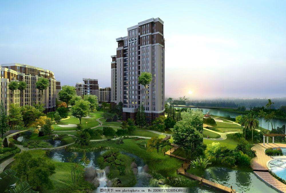 小区休闲绿地效果图图片_建筑设计_环境设计_图行天下