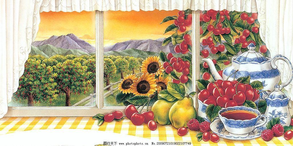 绝美手绘 生活 美图 水果 窗 风景 花 果园 艺术 文化艺术