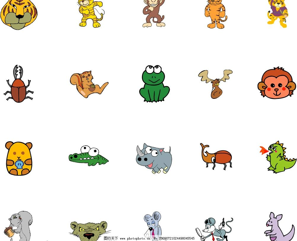 小动物 犀牛 青蛙 恐龙 松鼠 甲虫 老虎 猴子等 生物世界 野生动物