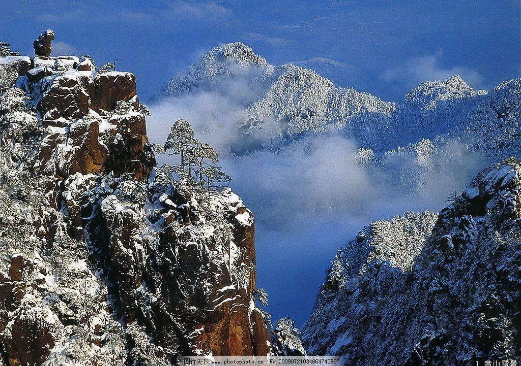 黄山雪景 黄山 雪景 风景名胜 松树 岩石 雪松 自然景观 自然风景