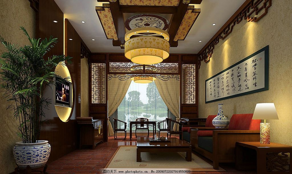 古典茶艺厅 室内设计 装修设计 古典风格 华丽吊顶 环境设计 设计图库
