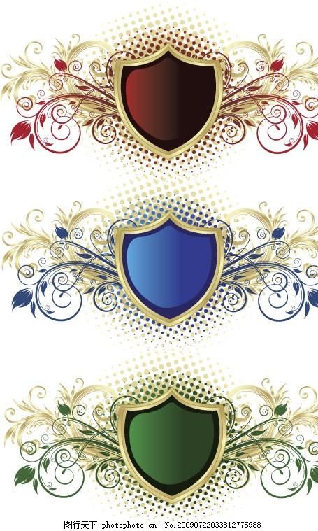 欧式盾牌花纹矢量素材 盾牌 花纹 橄榄枝 圆形渐变网点 欧式 复古